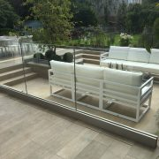 glass paneling around chill out area