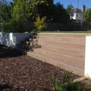middle steps with wood porcelain tiles