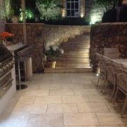Bespoke Outdoor Kitchen steps by night